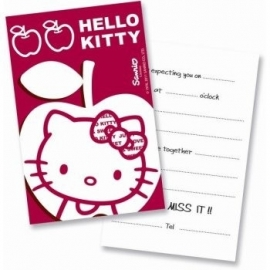 Hello Kitty Apple feestartikelen uitnodigingen (6st)