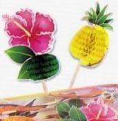 Luau/ Hawaii themafeest honeycomb prikkers(12st) - laatste