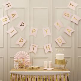 Pastel Perfection - 1e verjaardag slinger roze & goud