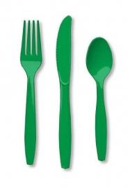 Effen kleur tafelgerei Groen bestek (18st)