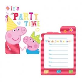 Peppa Pig feestartikelen uitnodigingen (6st)