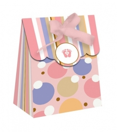 """Tiny Toes Pink"" babyshower feestartikelen favor bag (12st)"