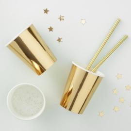 Goud feestartikelen | Metallic goud bekers (8st)