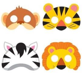 GO WILD JUNGLE PARTY | DIEREN MASKERS (8ST)