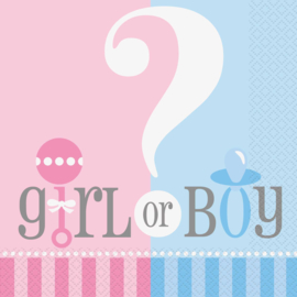 Boy or Girl? Gender Reveal feestartikelen - Servetten (20st)