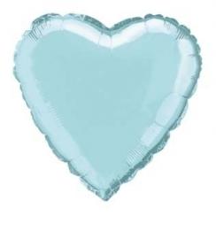 Folie/ helium ballon hart zachtblauw