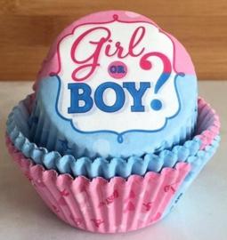 Boy or Girl? Gender Reveal versiering | Cupcake vormpjes ( 25st)