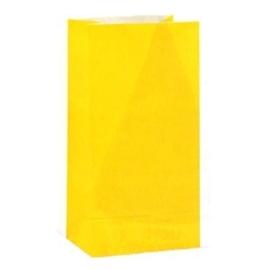 Effen gekleurde partybags geel (12st)