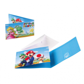 Super Mario Bros feestartikelen - uitnodigingen (8st)