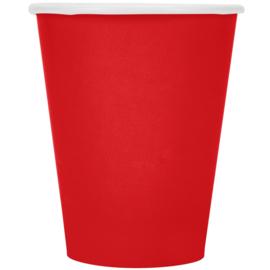 Effen kleur feestartikelen - Rood bekers (14st)