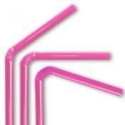 Plastic rietjes roze (50st)