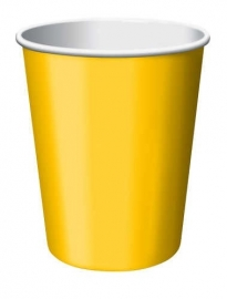 Effen kleur feestartikelen Geel bekers (14st)