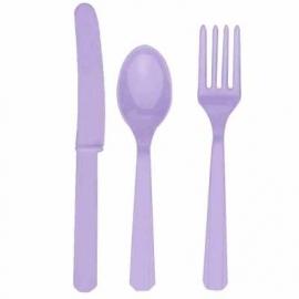Feestartikelen Lavendel Paars/ Lila - bestek (18st)