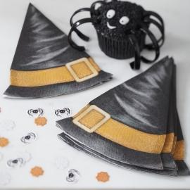 Spooky Spider Halloween feestartikelen - heksenhoed servetten (12st)