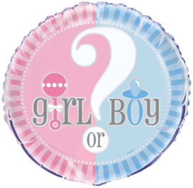 Boy or Girl? Gender Reveal feestartikelen - Folieballon