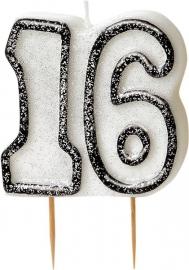 16e verjaardag feestartikelen - kaars 16 zwart