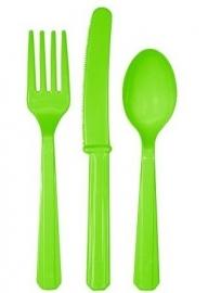 Effen kleur feestartikelen - Lime groen bestek (18st)