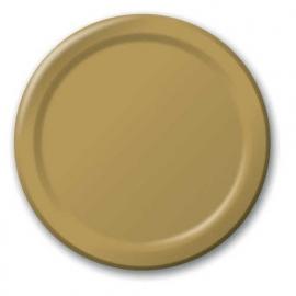 Effen kleur feestartikelen goud - borden (16st)
