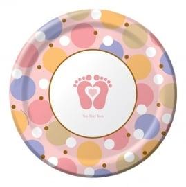 """Tiny Toes Pink"" babyshower feestartikelen borden (8st)"