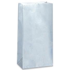 Effen gekleurde partybags zilver (10st)