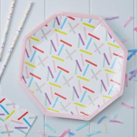 Pick & Mix feestartikelen - Confetti Sprinkles borden (8st)