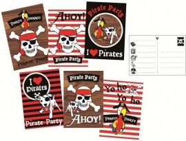 Piraten feestartikelen uitnodigingen (6st)