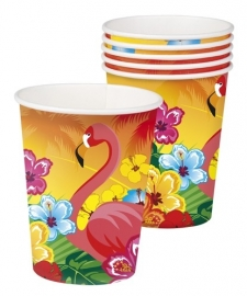 Luau/ Hawaii feestartikelen flamingo bekers (6st)