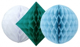Honeycomb 3-delige set blauw/ wit/ petrol
