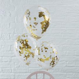 Confetti ballonnen metallic goud (5st)