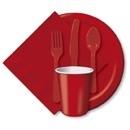 Effen kleur feestartikelen Rood bestek (18st)