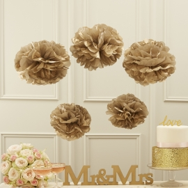 Pastel Perfection feestartikelen - Pompoms goud (5st)