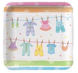 """""""Babyclothes"""" babyshower gebaksbordjes (8st)"""