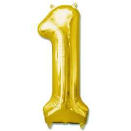 XL Folieballon (92cm) Cijfer 1 | Goud