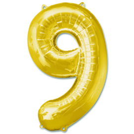 XL Folieballon (92cm) Cijfer 9 | Goud
