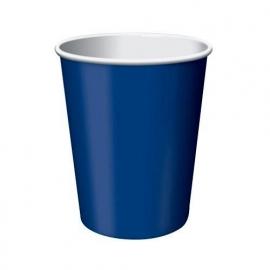 Effen kleur feestartikelen Blauw bekers (8st)