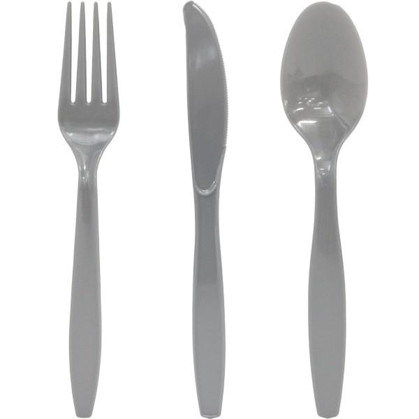 Effen gekleurd tafelgerei Zilver bestek (24st)
