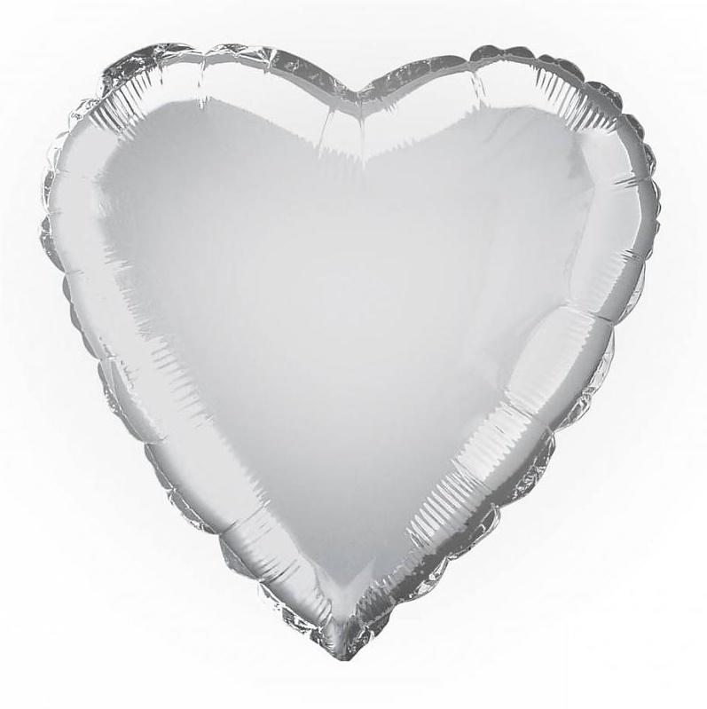 Folie/ helium ballon hart zilver