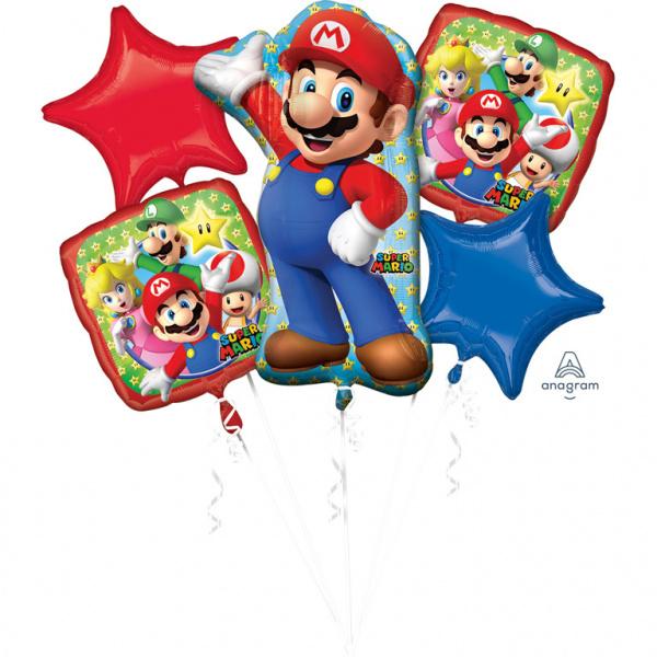 Super Mario Bros feestartikelen - folie ballonnen set (5st)