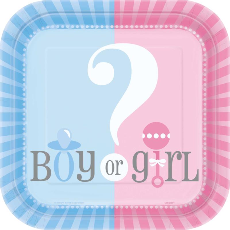 Boy or Girl? Gender Reveal feestartikelen - bordjes (10st)