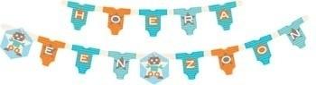 Geboorte feestartikelen: Hoera een zoon letterslinger/ wenslijn