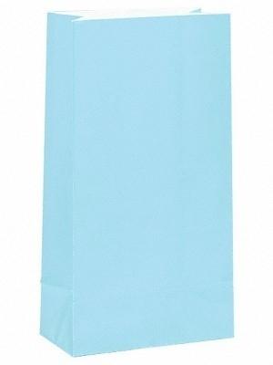 Effen gekleurde partybags zachtblauw (12st)