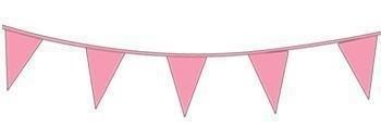 Vlaggenlijn/ vlagslinger roze (10m)