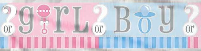 Boy or Girl? Gender Reveal feestartikelen - Folie slinger (3,65m)