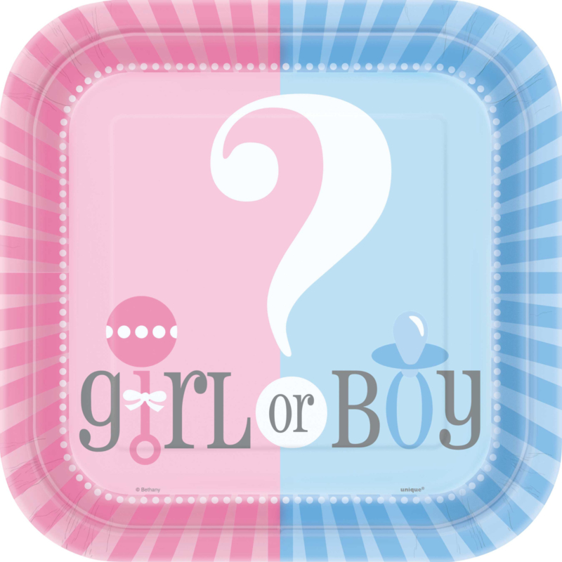 Boy or Girl? Gender Reveal feestartikelen - Grote borden (8st)