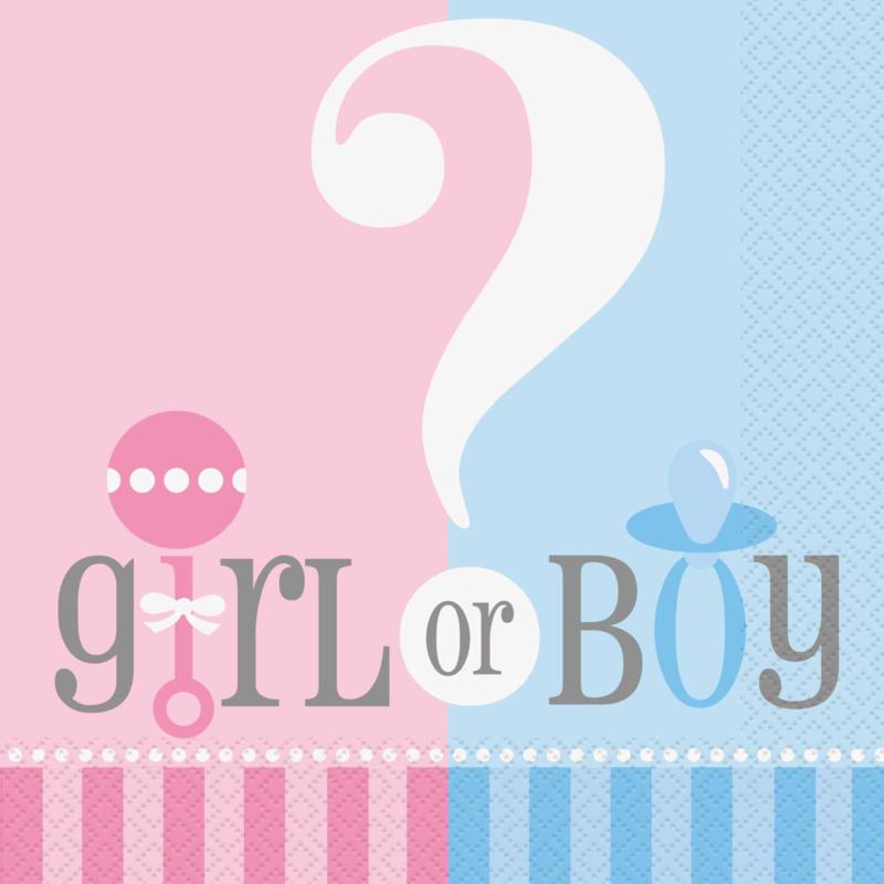 Boy or Girl? Gender Reveal feestartikelen - Servetten (20st)