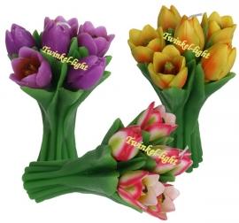 Kaars Boeket Tulpen in 5 kleuren