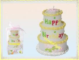 Kaars Happy Birthday taart 3-lagig