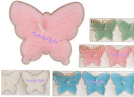 Theelicht/Waxinelicht Vlinder met glitter