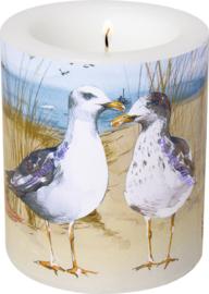 Kaars/Windlicht Birds on the beach