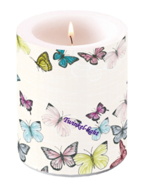 Kaars/Windlicht met Vlinders